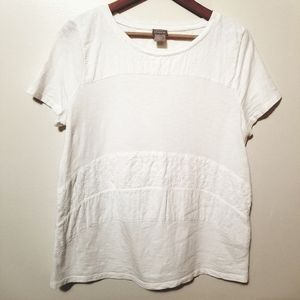 Chico's Mixed Texture Striped Tee Size 1(M)